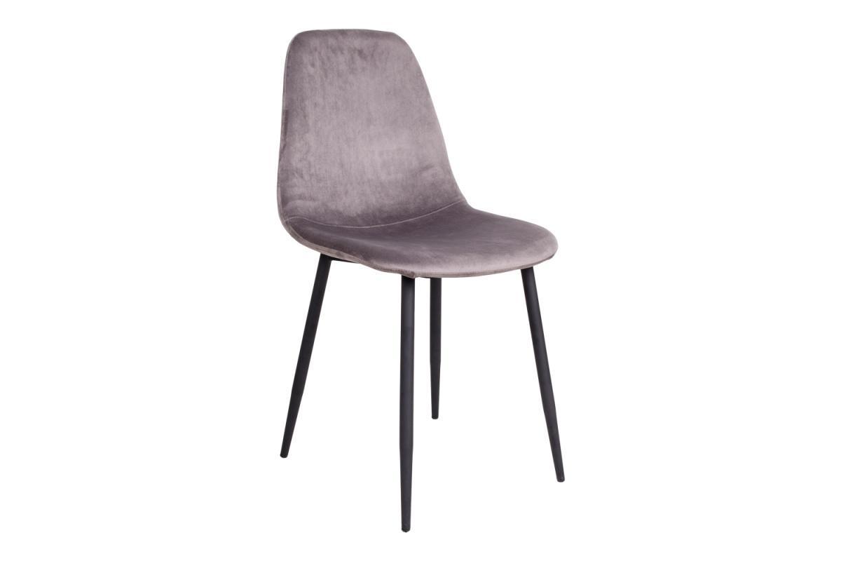 Dizajnová jedálenská stolička Myla, sivá, čierne nohy