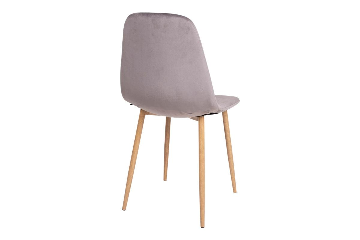 Dizajnová jedálenská stolička Myla, sivá, svetlé nohy