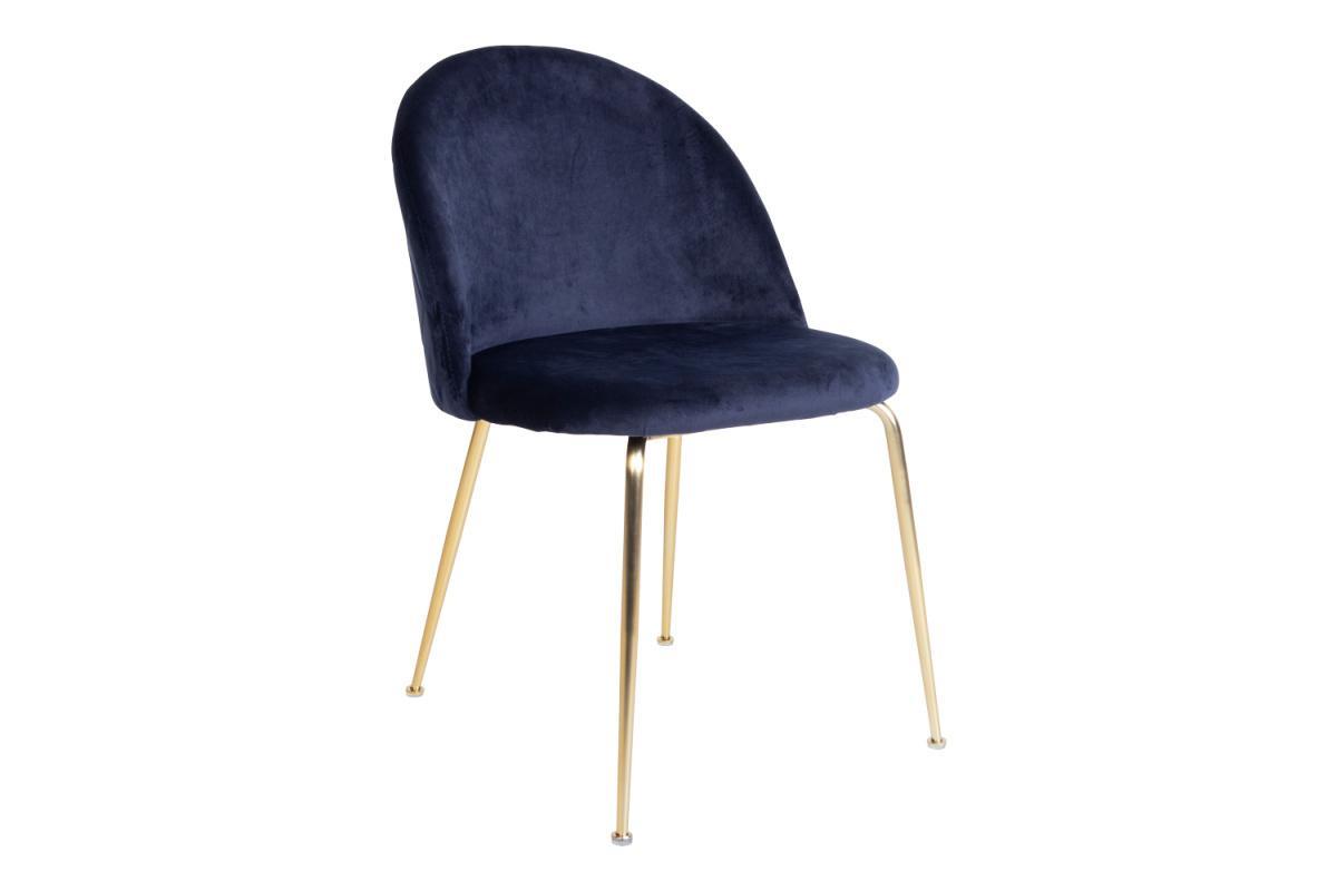Dizajnová stolička Ernesto, modrá / mosadz
