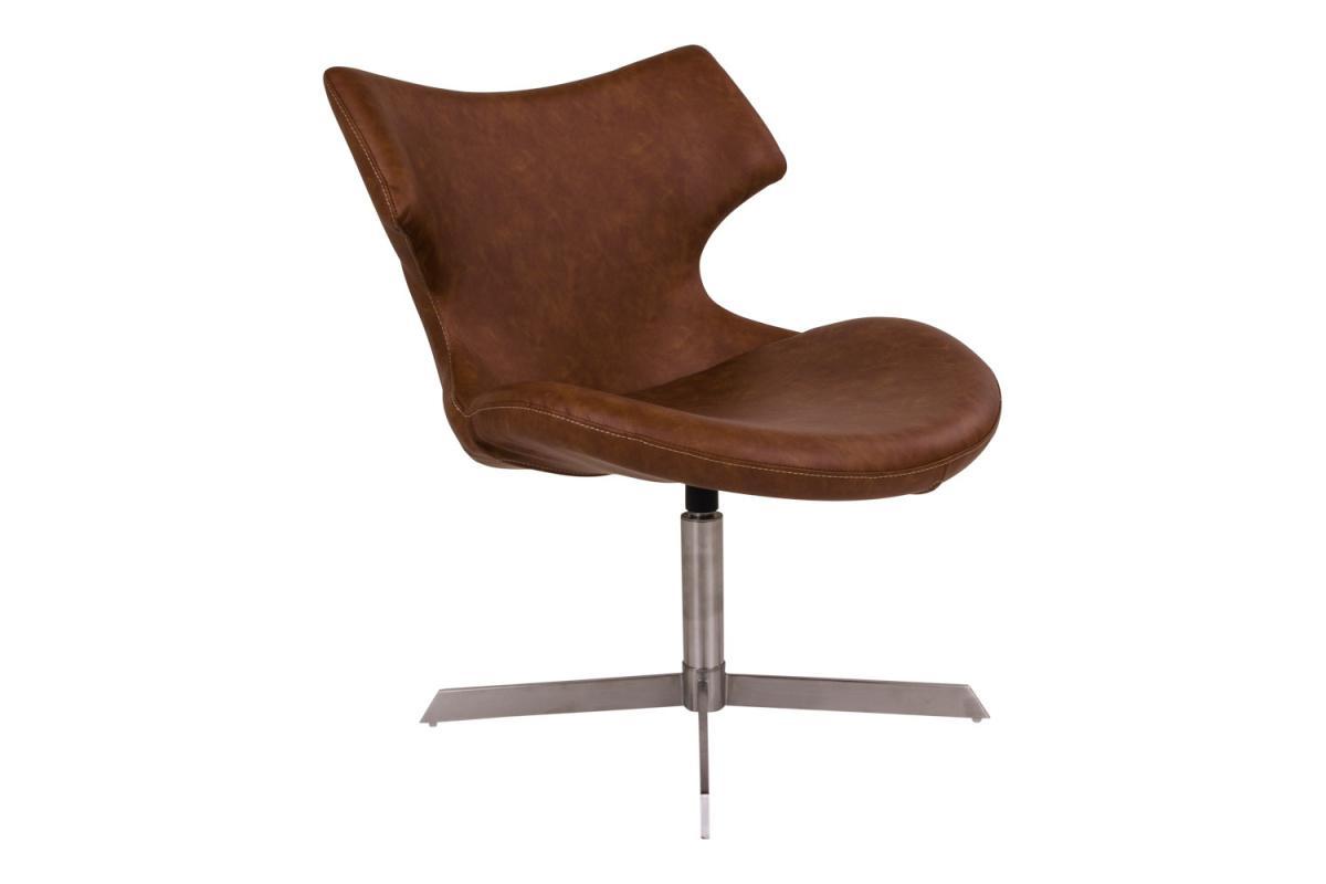 Dizajnová stolička Khloe, hnedá koženka