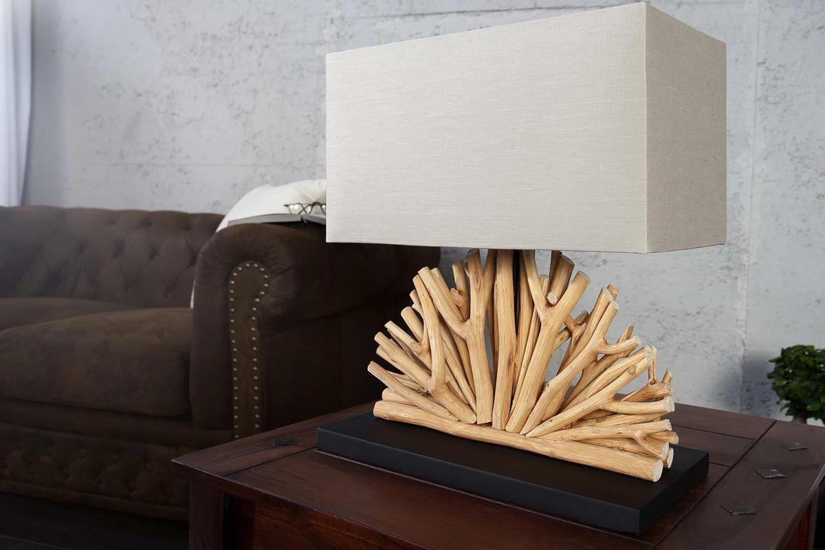 Stolná lampa z naplavené dreva Galio béžová