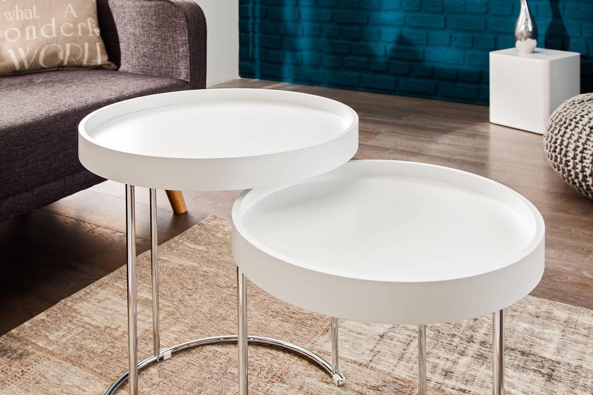 Dvojitý konferenčný stolík BREAK bielo strieborný