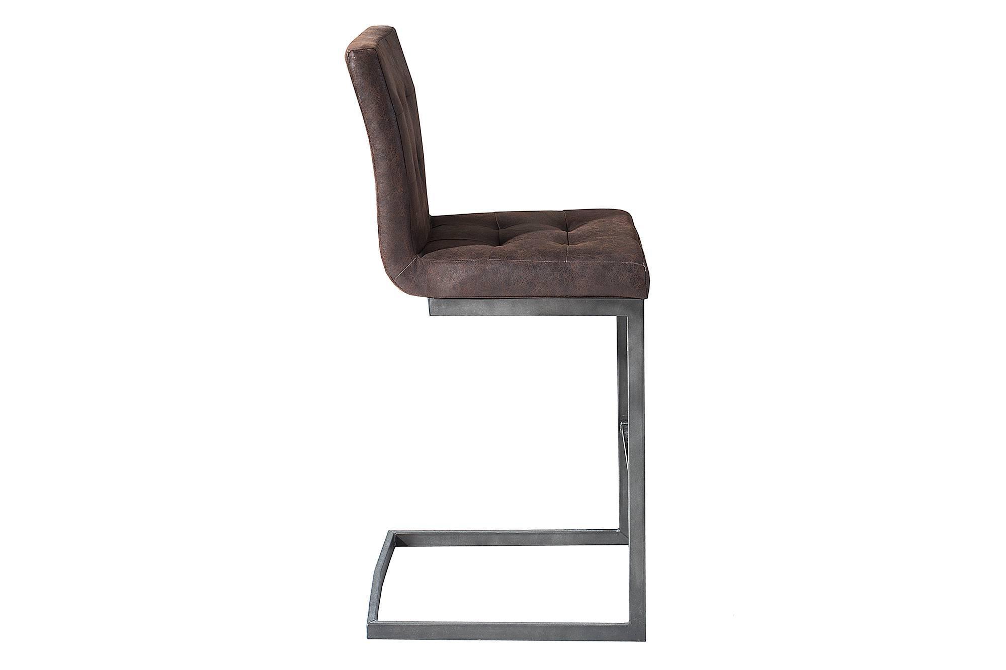 Barová kožená stolička Cowboy hnedá