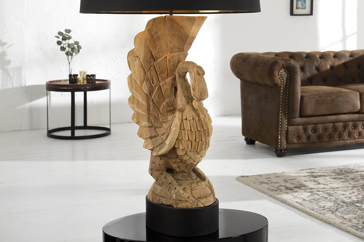 Exkluzívna stolná lampa labuť z agátového dreva