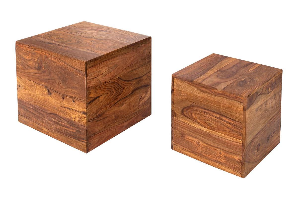 Dizajnové stolíky Elegant kocky z masívneho dreva