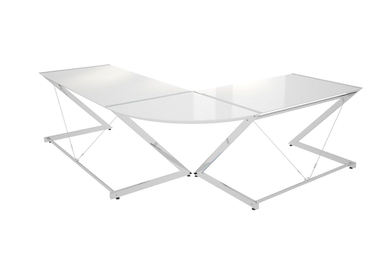 Dizajnový stôl Brik chrómovaný biela