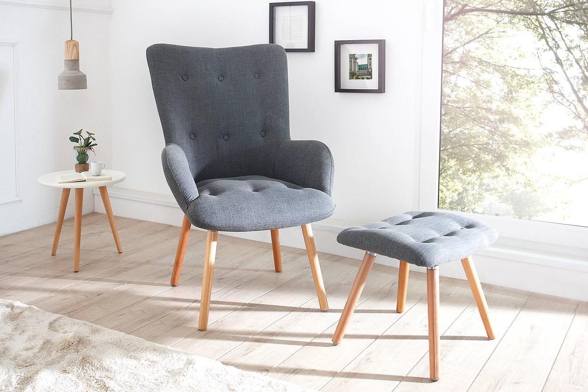 LuxD Set kresla a podnožky Sweden sivá