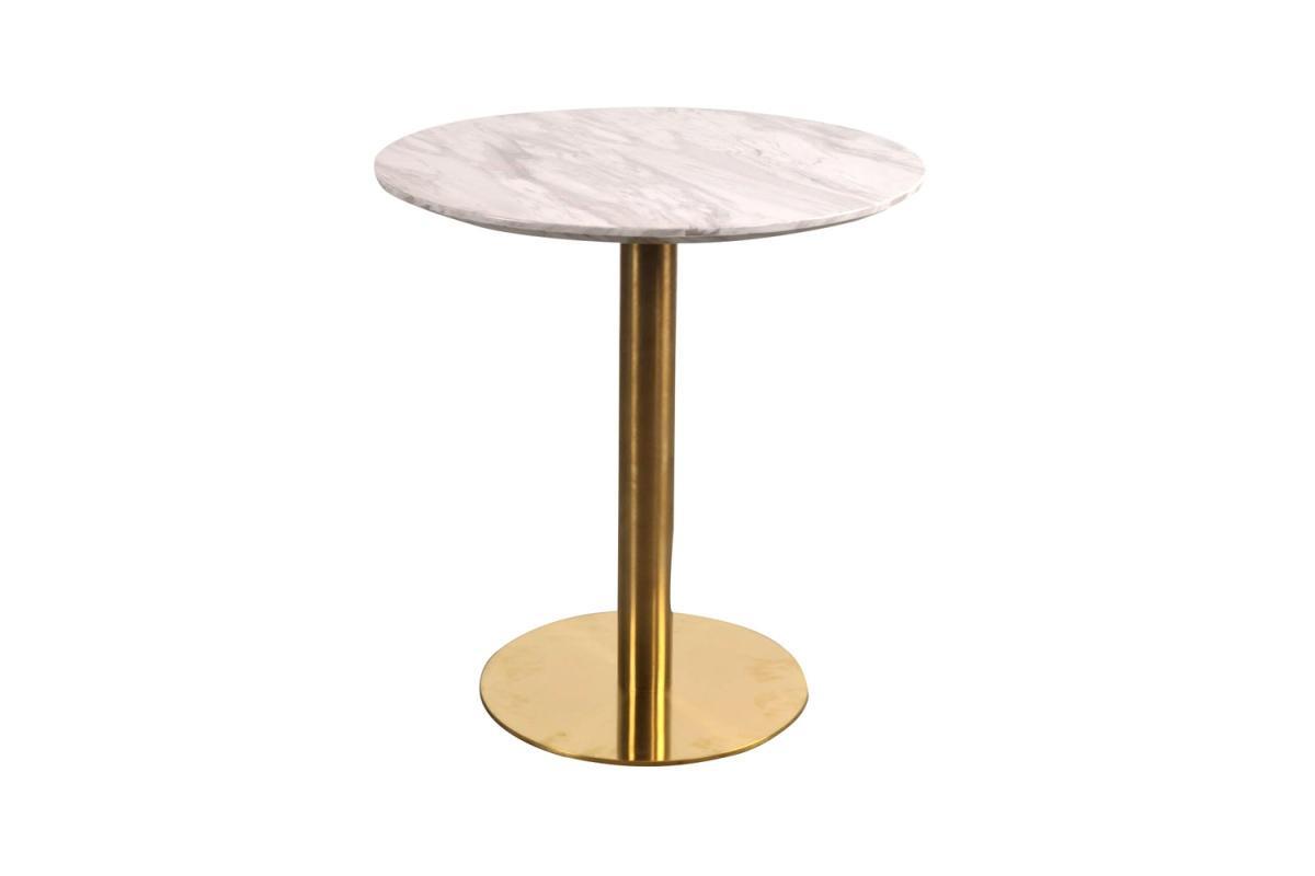 Norddan Okrúhly jedálenský stôl Kane 70 cm imitácia mramoru / mosadz