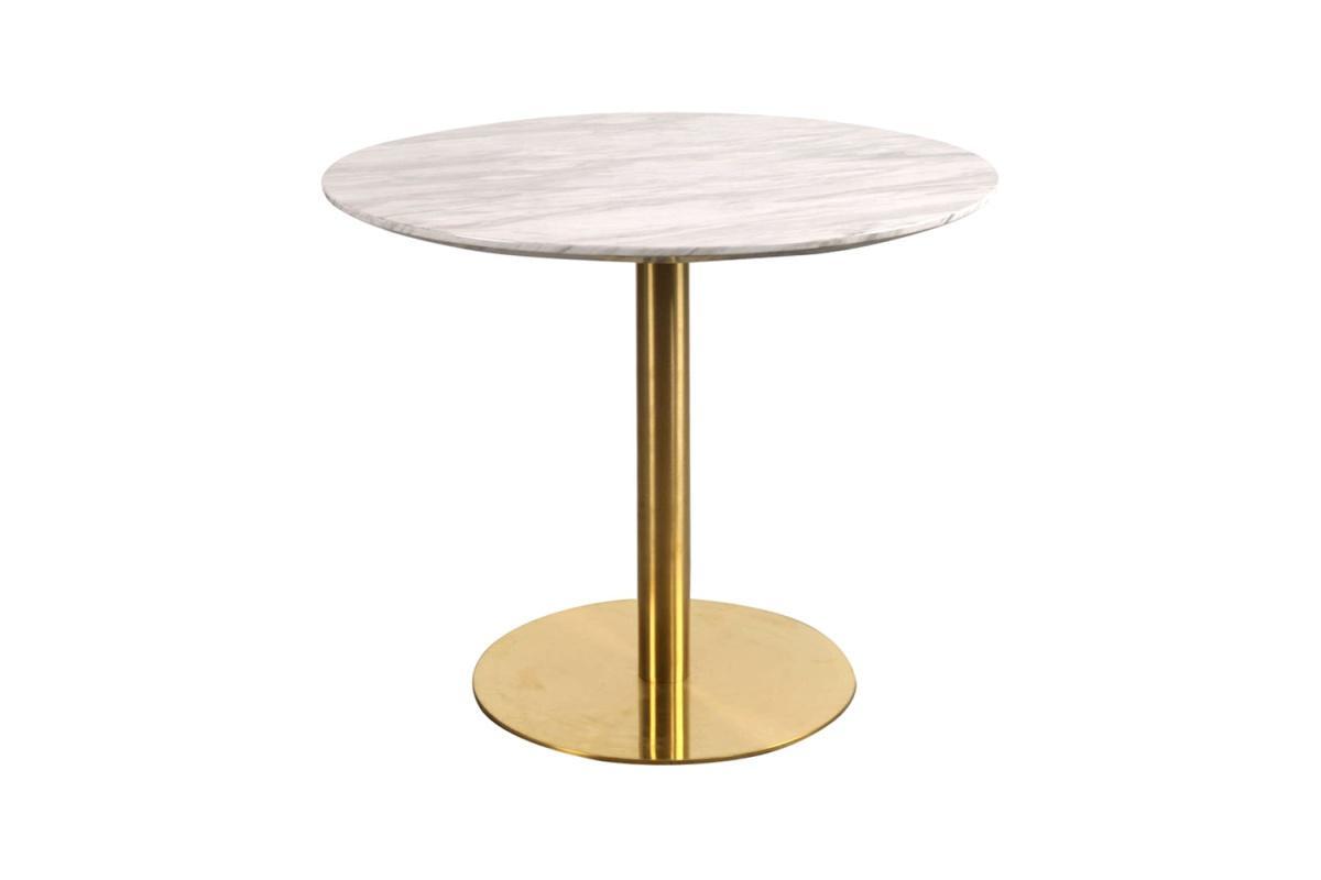 Okrúhly jedálenský stôl Kane 90 cm mramor / mosadz