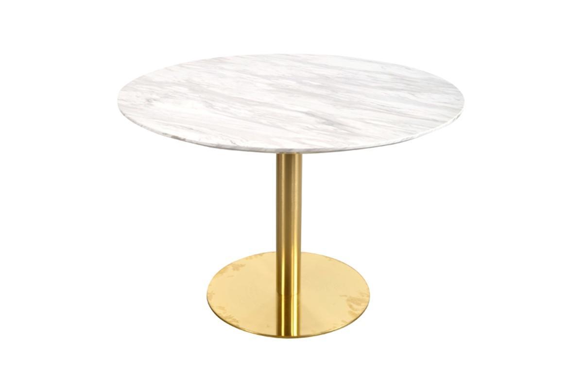 Norddan Okrúhly jedálenský stôl Kane 110 cm imitácia mramoru / mosadz