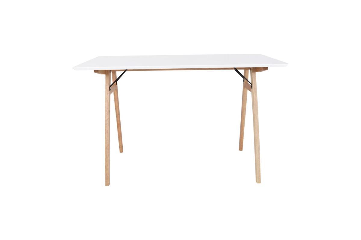 Dizajnový písací stôl Carmen, biely / prírodný