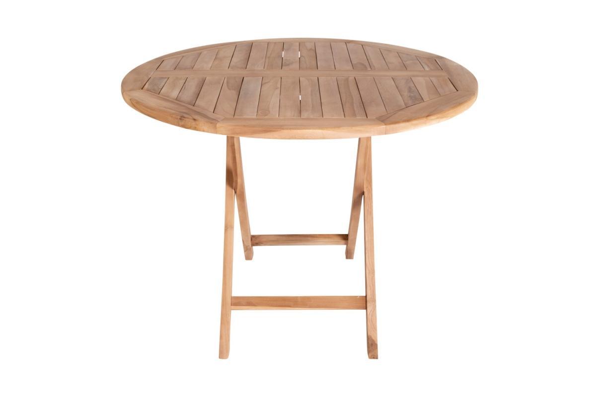Záhradný stôl Mekhi, teak, okrúhly