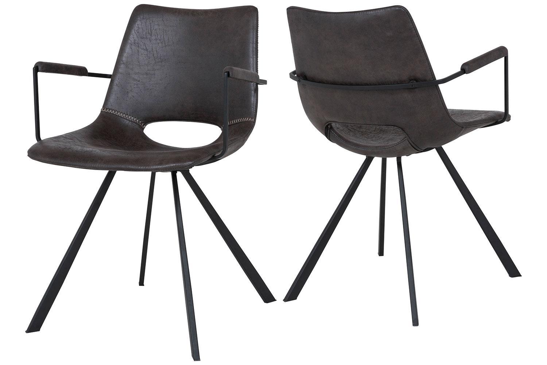 Dizajnová stolička Izabella s opierkami /sivo čierna