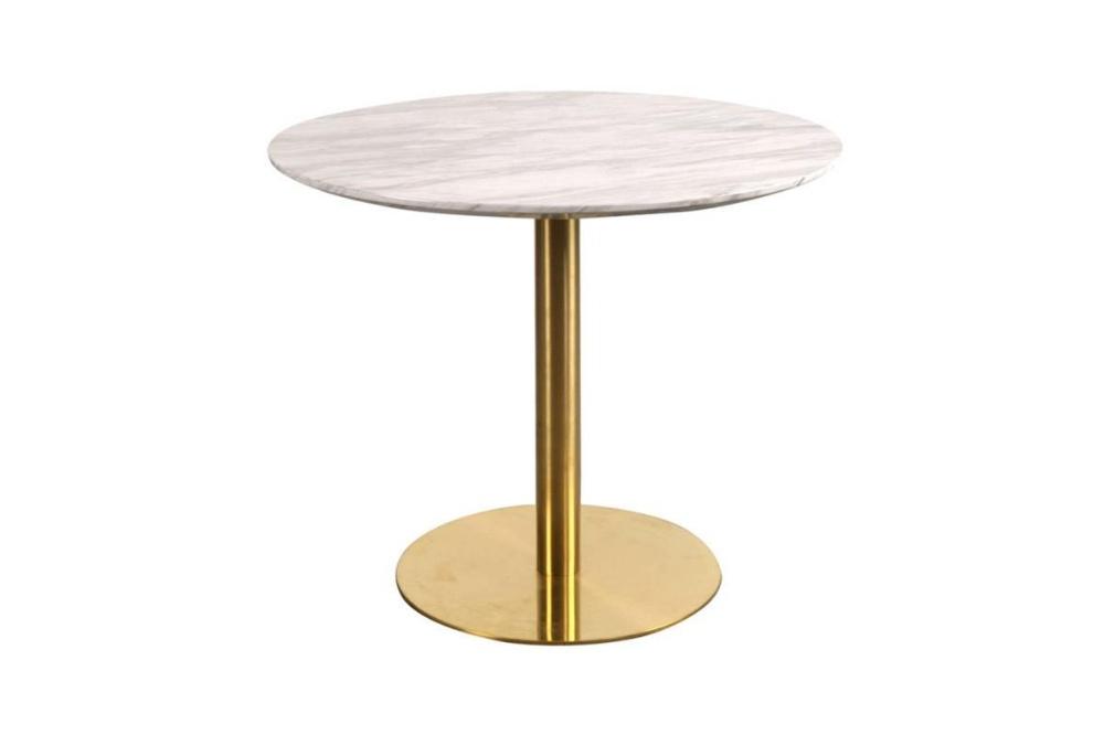 Norddan Okrúhly jedálenský stôl Kane 90 cm mramor / mosadz