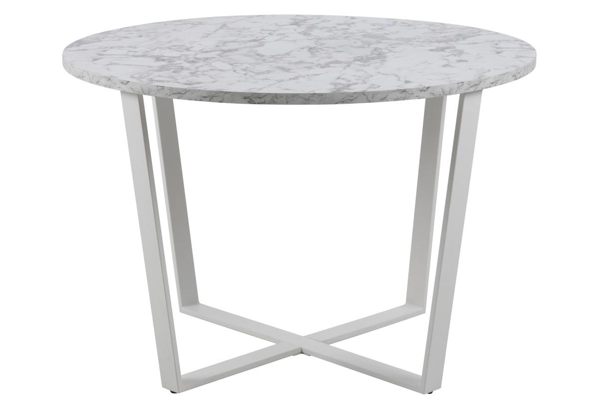 Dkton Okrúhly jedálenský stôl Nayo mramorová potlač, biela