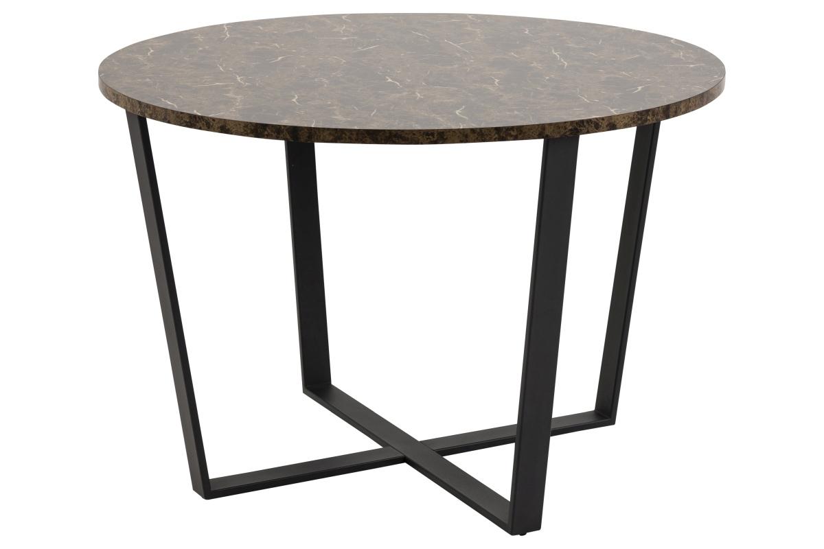 Dkton Okrúhly jedálenský stôl Nayo mramorová potlač, hnedá