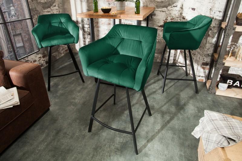 LuxD Dizajnová barová stolička s podrúčkami Giuliana 100 cm zelený zamat