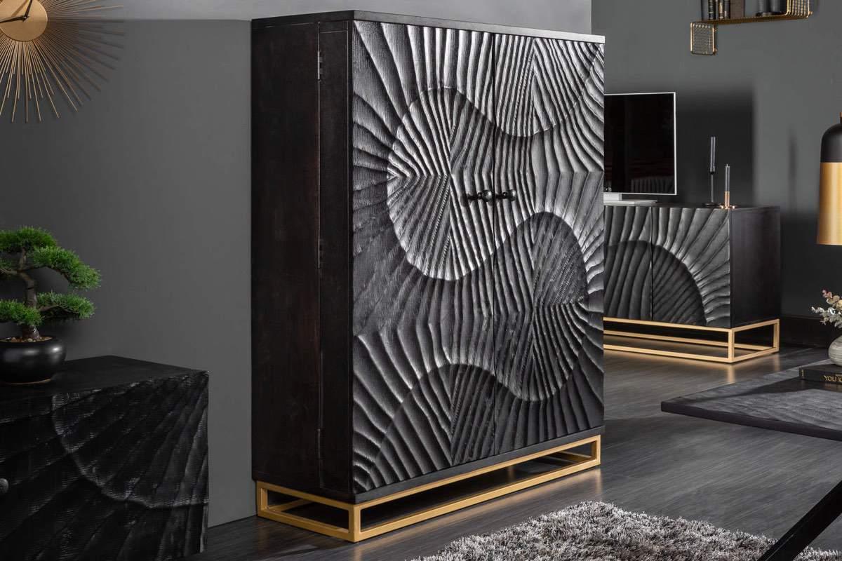 LuxD Dizajnová barová skrinka Shayla 141cm čierne mango
