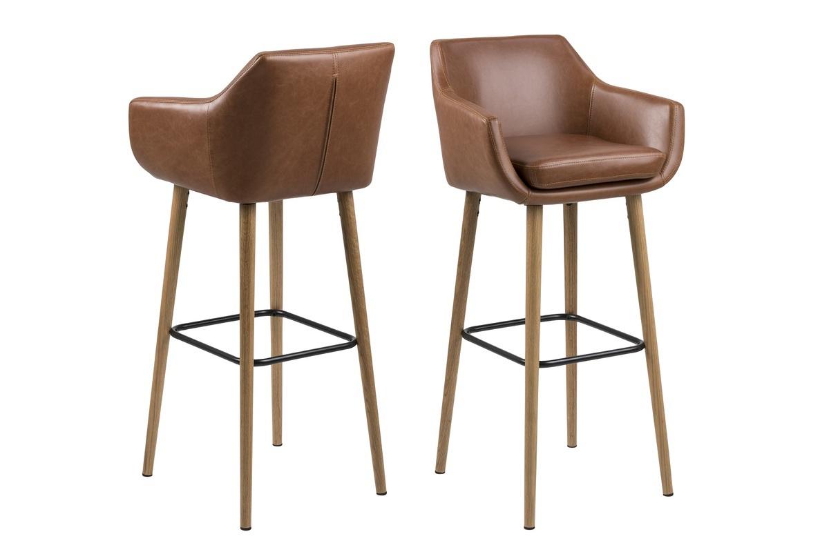Dkton Dizajnová barová stolička Almond, koňaková