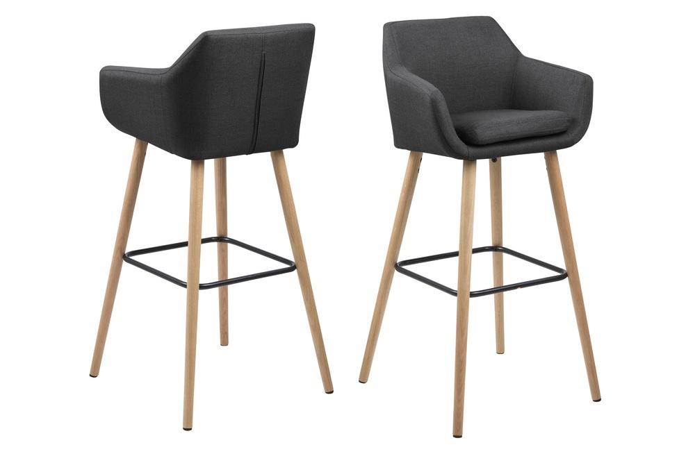 Dkton Dizajnová barová stolička Almond, tmavosivá / prírodná
