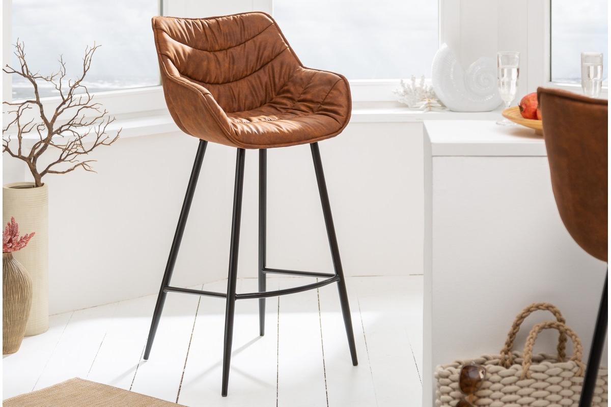 LuxD Dizajnová barová stolička Kiara antik hnedá