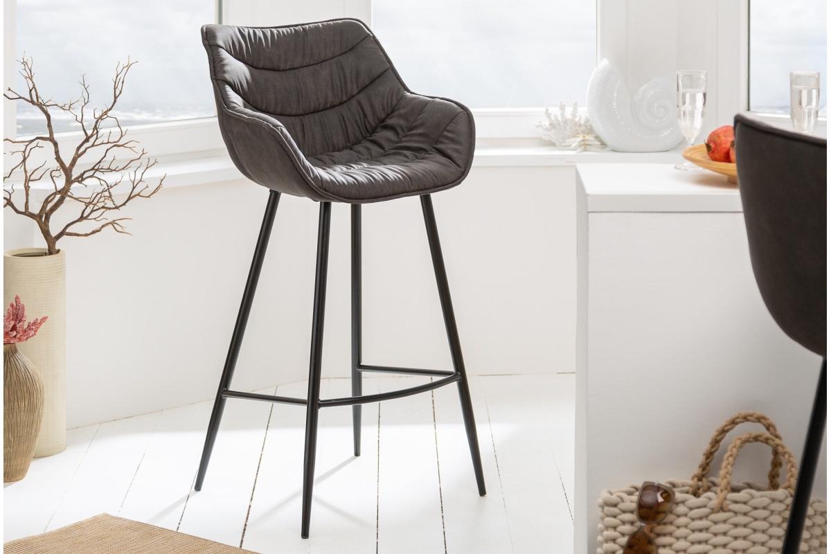 LuxD Dizajnová barová stolička Kiara antik sivá