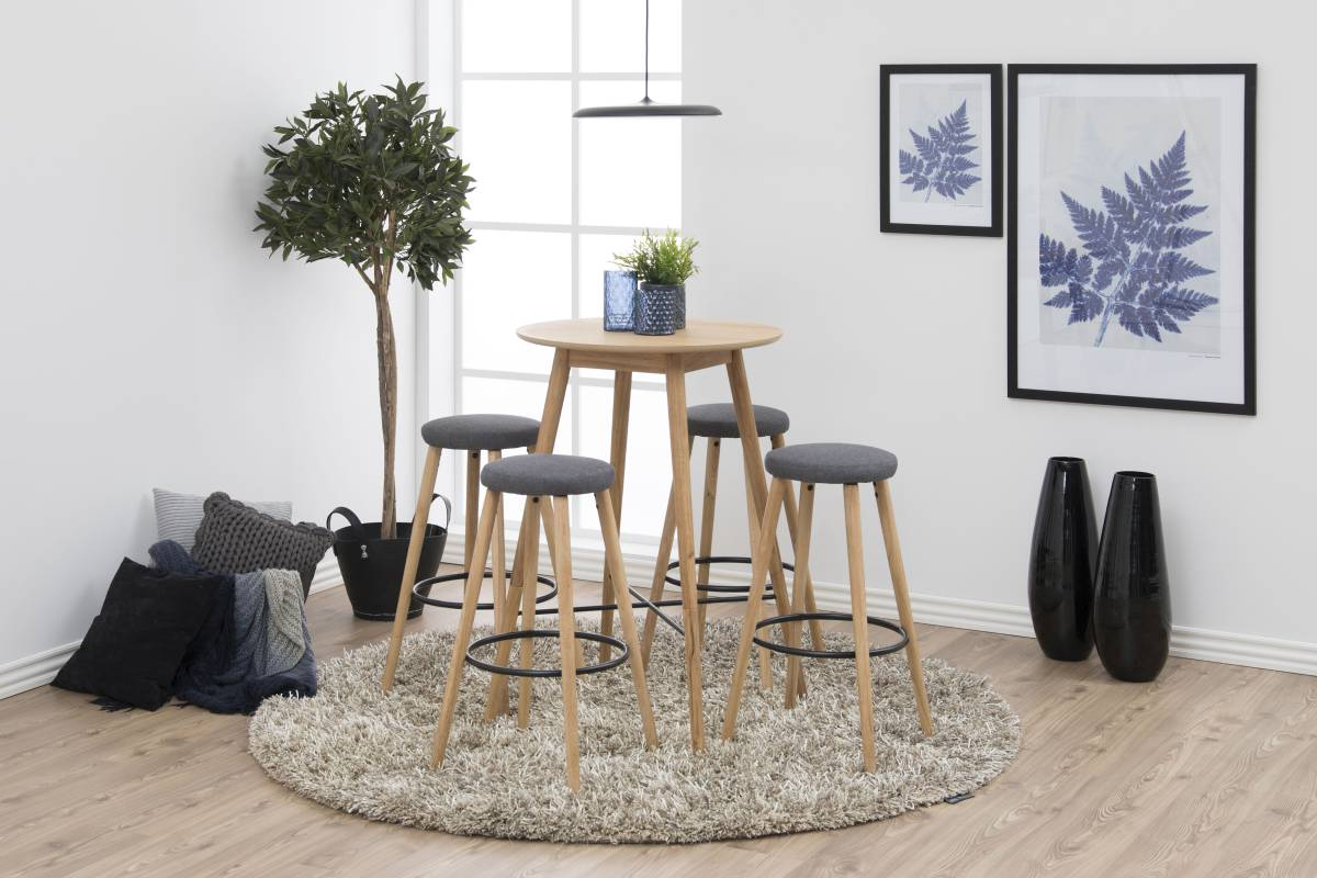 Dkton Dizajnová barová stolička Neptune, šedá-prírodná