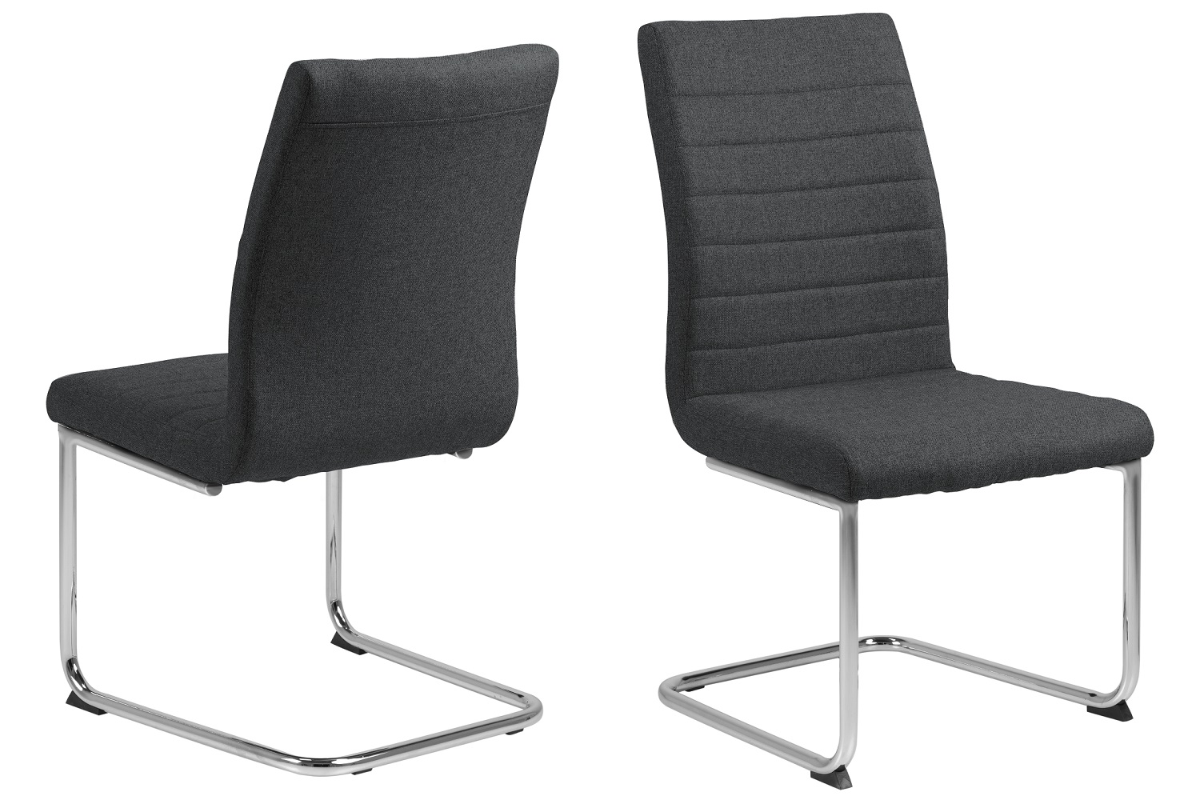 Dkton 25278 Dizajnová jedálenská stolička Daitaro tmavosivá / strieborná
