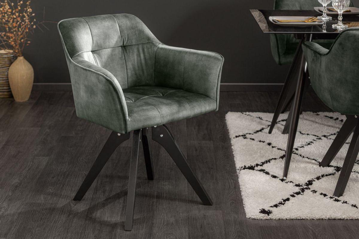 LuxD 24111 Dizajnová otočná stolička Giuliana zelený zamat