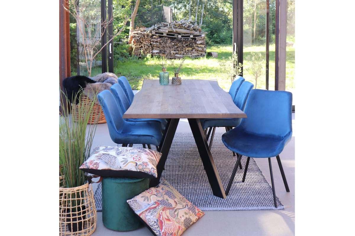 Norddan 21856 Dizajnová stolička Brinley modrý zamat