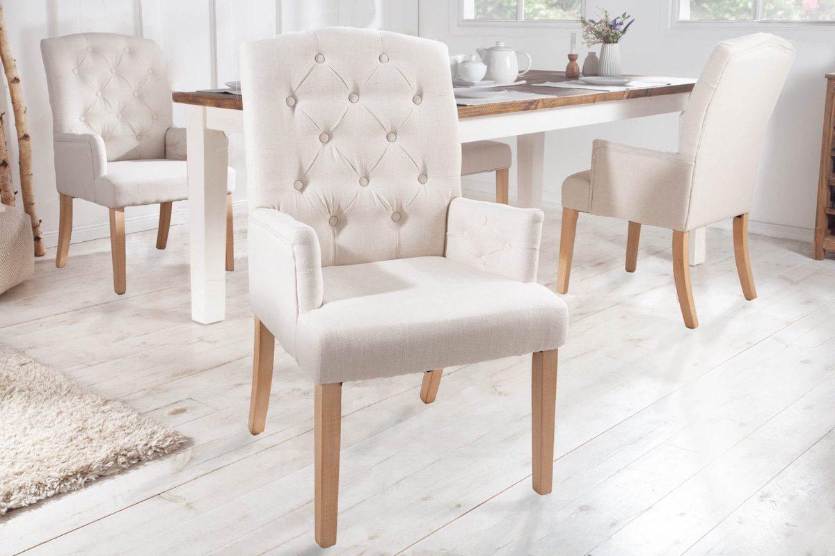 LuxD 23782 Dizajnová stolička s podrúčkami Queen béžová