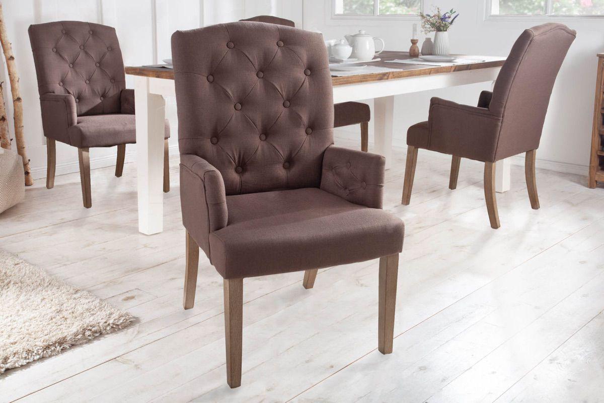 LuxD 23780 Dizajnová stolička s podrúčkami Queen hnedá