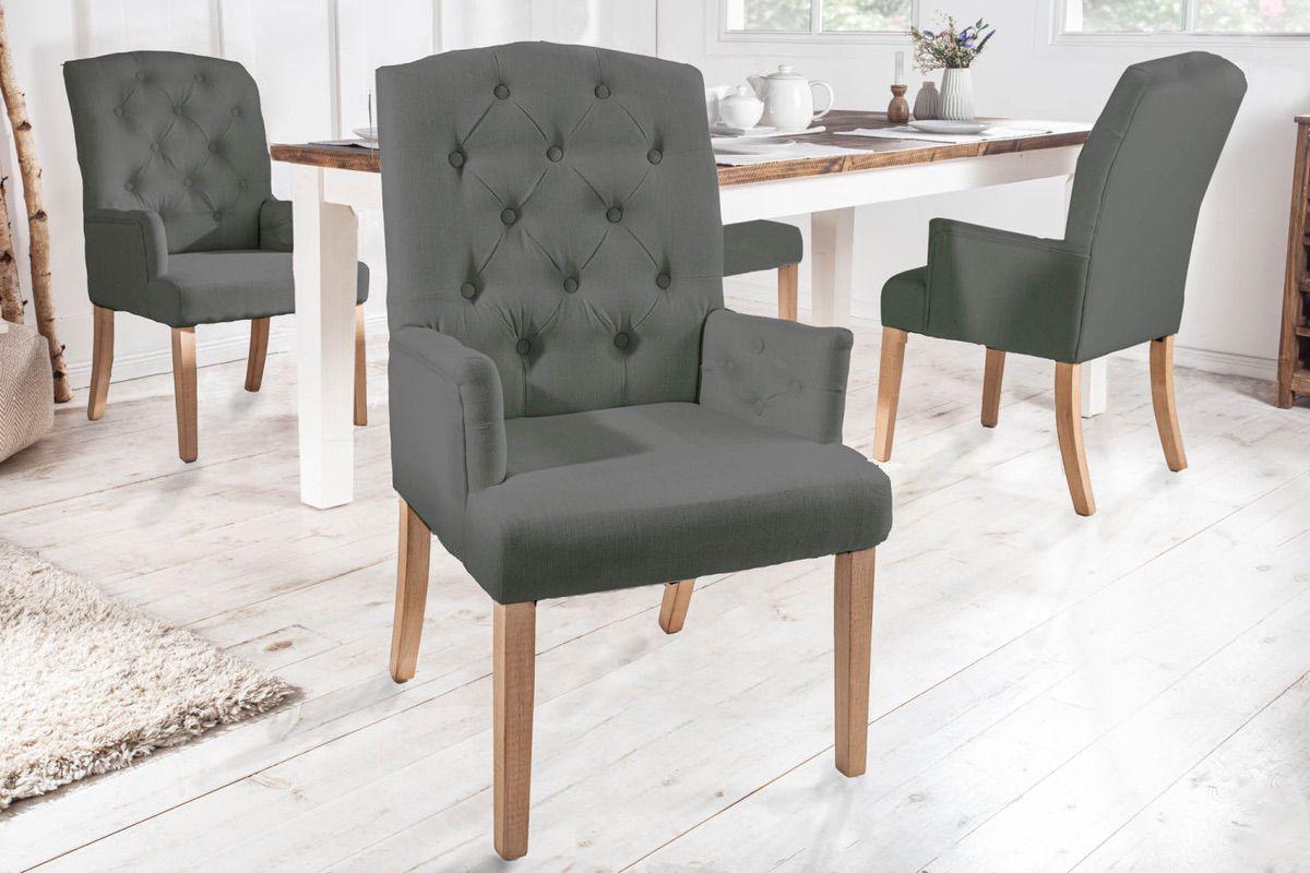 LuxD 23781 Dizajnová stolička s podrúčkami Queen svetlosivá
