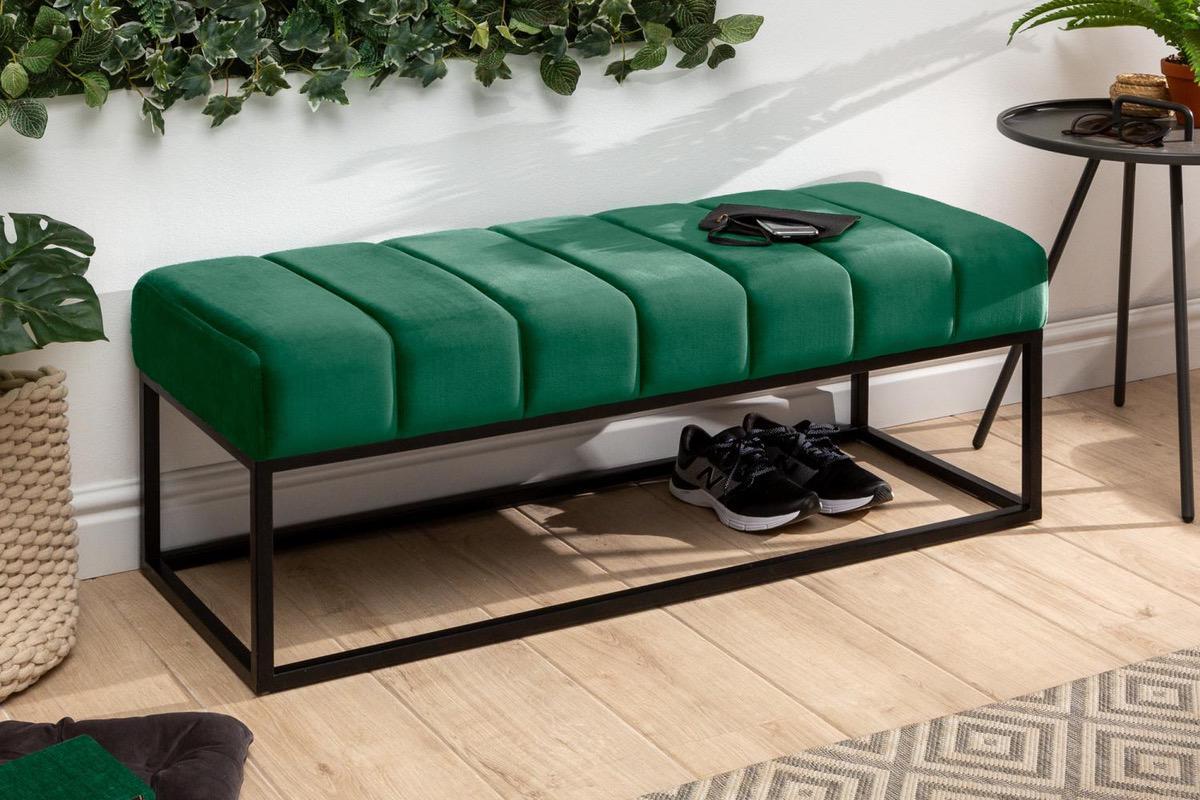 LuxD Dizajnová lavica Halle 110 cm zamat - smaragdová zelená