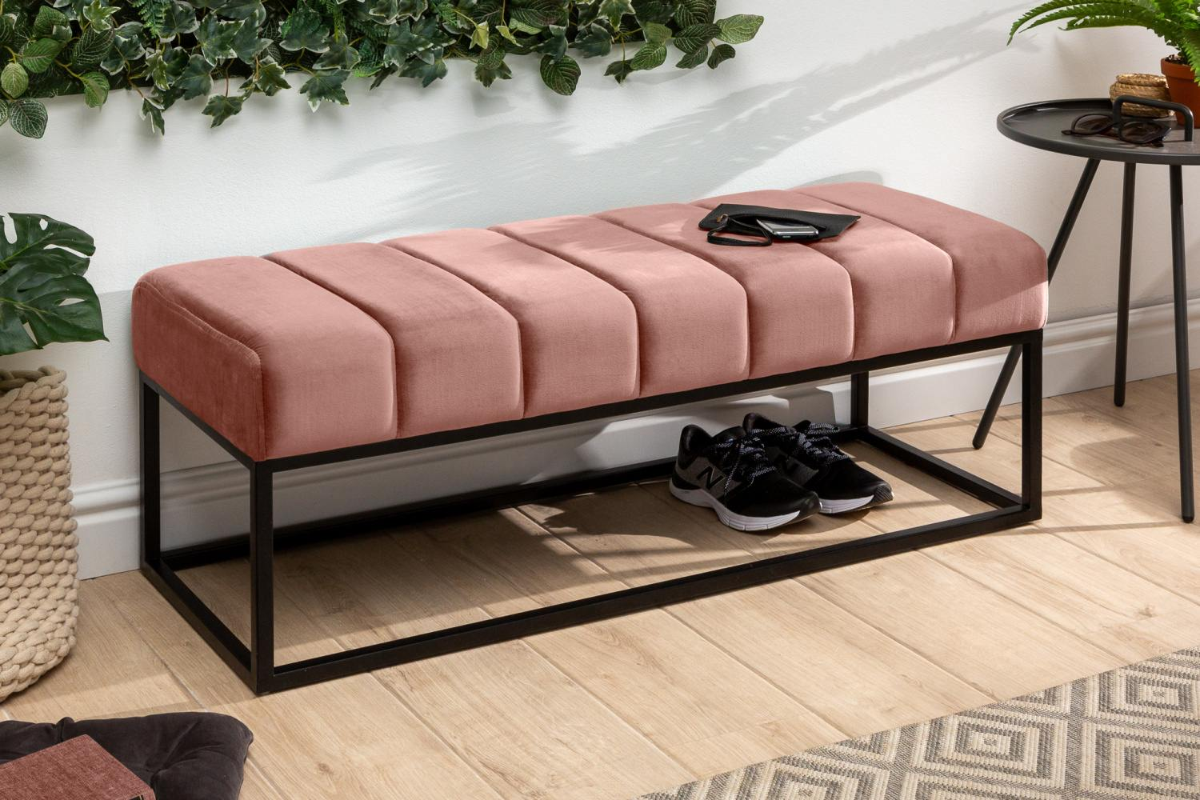 LuxD Dizajnová lavica Halle 110 cm zamat - staroružová