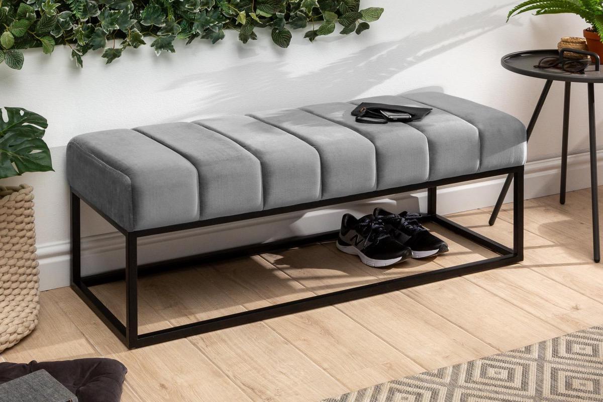LuxD Dizajnová lavica Halle 110 cm zamat - striebornosivá