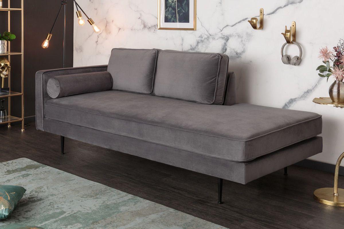 LuxD Dizajnová leňoška Evie 196 cm sivý zamat