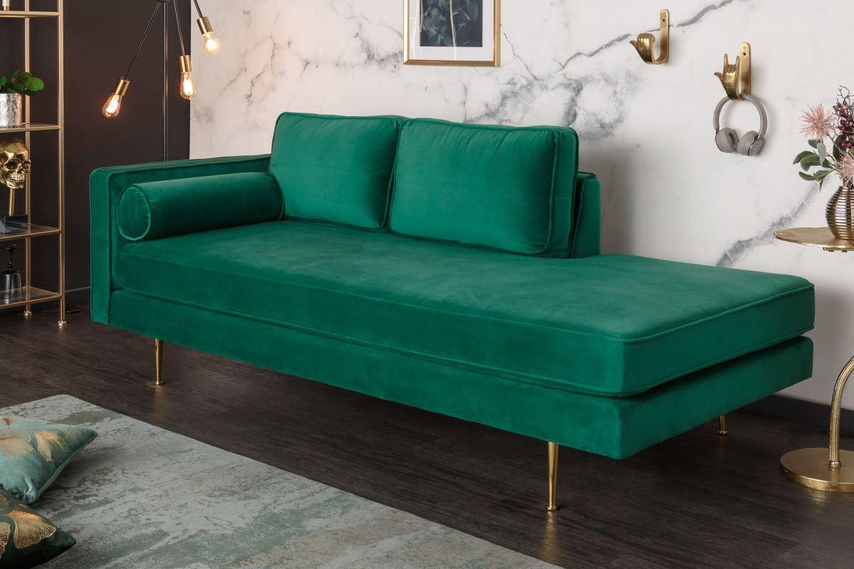 LuxD Dizajnová leňoška Evie 196 cm smaragdovozelený zamat