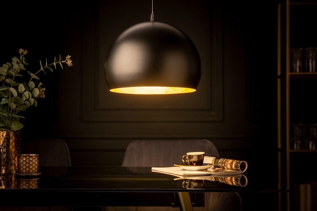 LuxD 25508 Dizajnové závesné svietidlo Colt 30 cm zlaté listy čierne závesné svietidlo