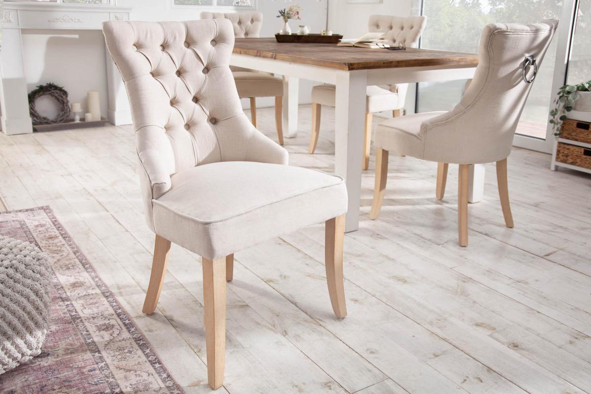 LuxD 24854 Dizajnová stolička Queen ľan béžová