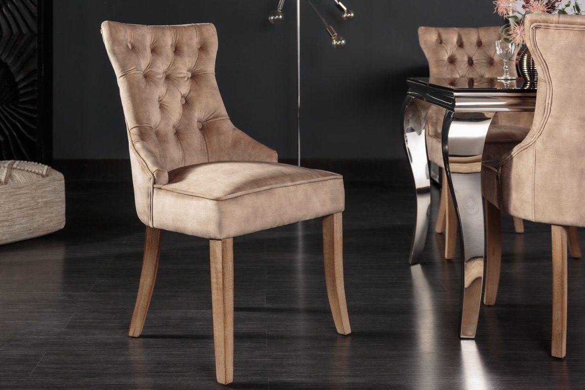 LuxD 24853 Dizajnová stolička Queen zamat kávová