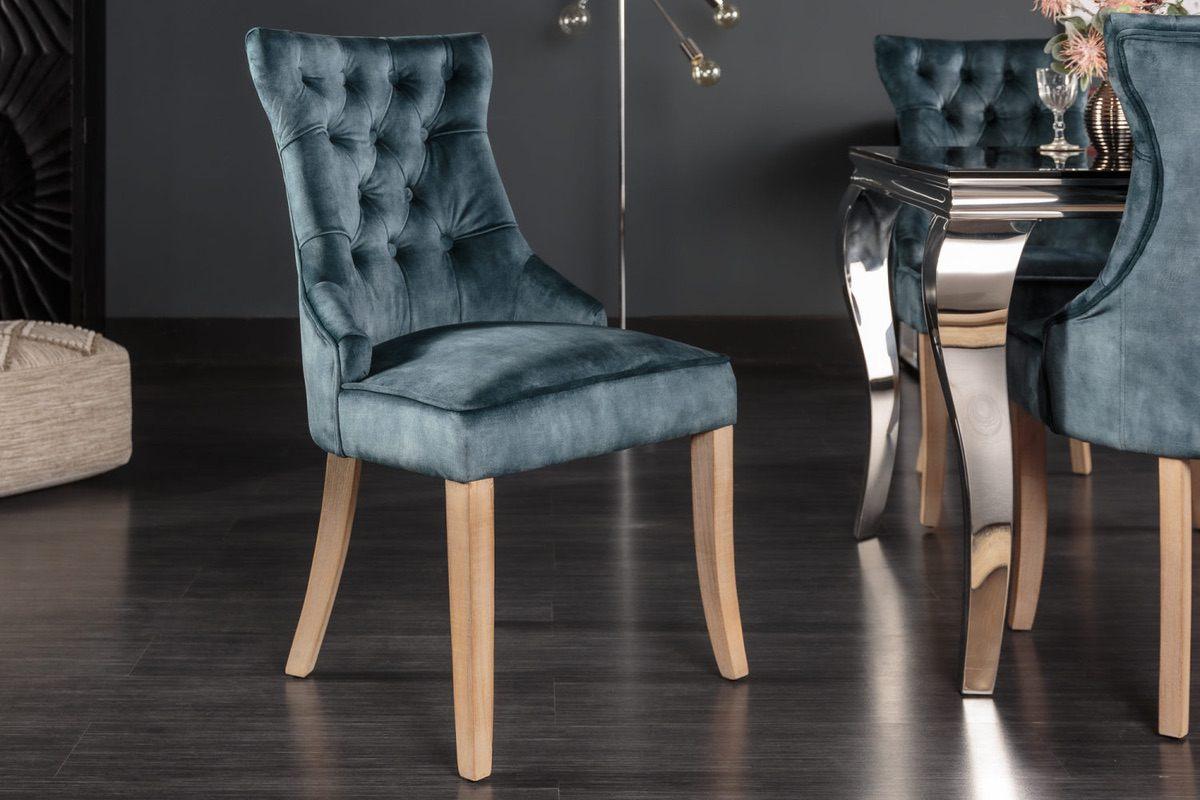 LuxD 24851 Dizajnová stolička Queen zamat petrol zelená