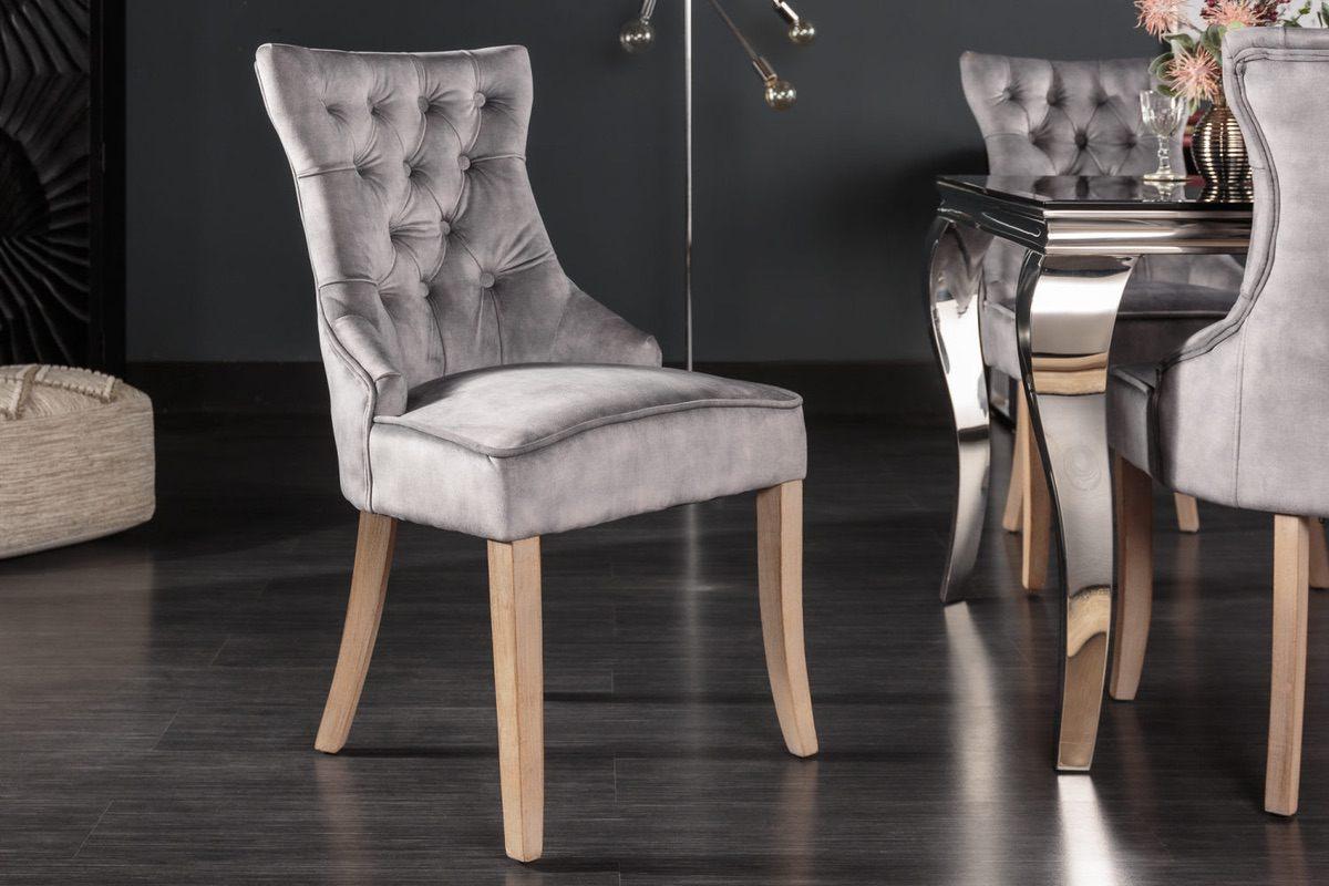 LuxD 24852 Dizajnová stolička Queen zamat sivá