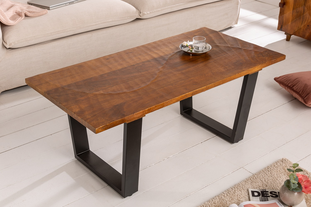 LuxD Dizajnový konferenčný stôl Shayla 110 cm hnedý / mango