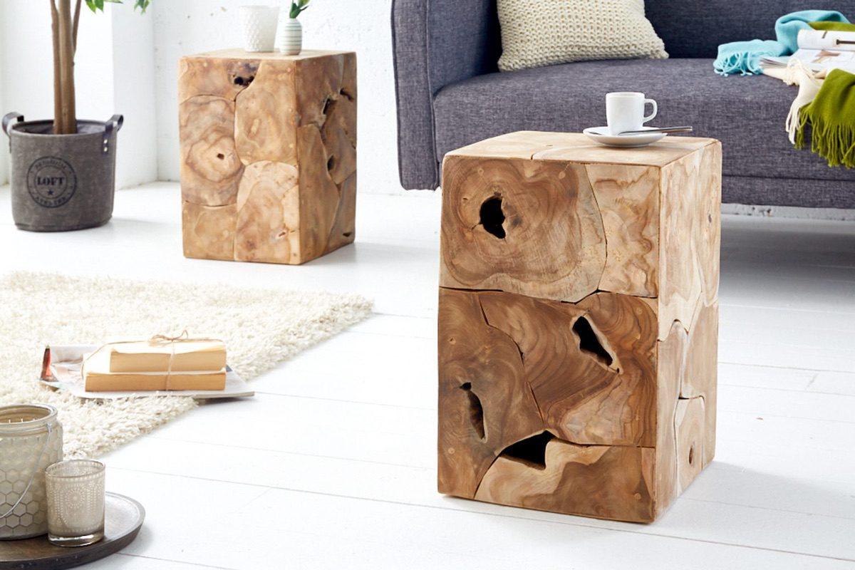 LuxD Dizajnový odkladací stolík Junk 30 cm teak