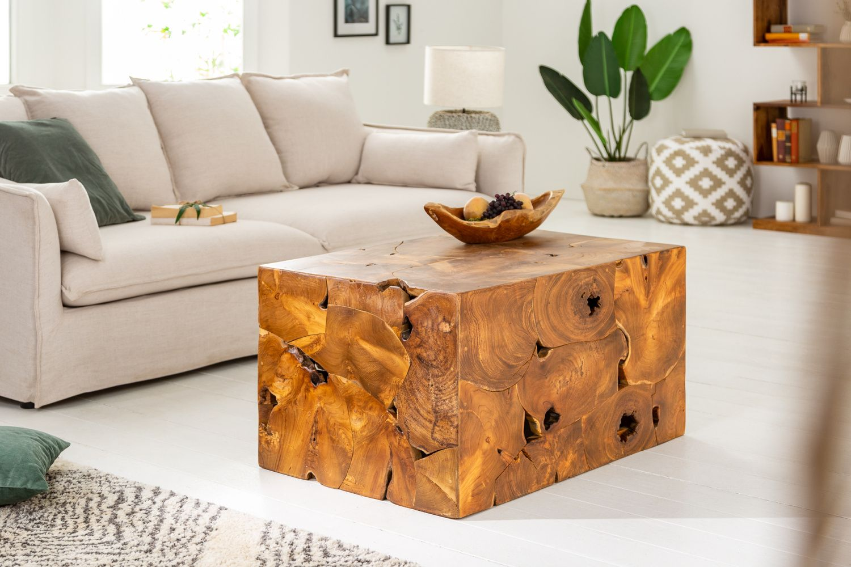 LuxD Dizajnový konferenčný stolík Junk 90 cm teak