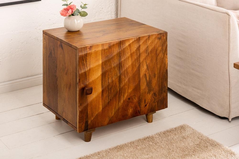 LuxD Dizajnový nočný stolík Shayla 50 cm hnedé mango
