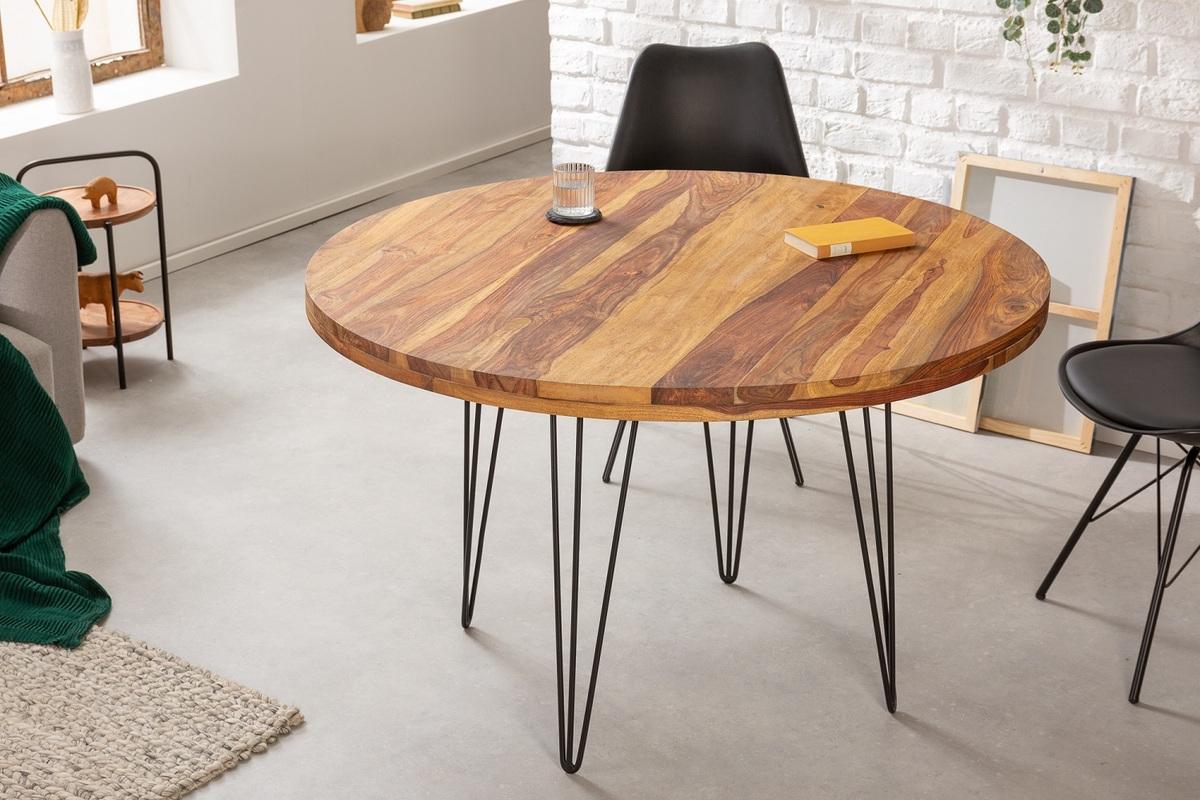 LuxD Dizajnový okrúhly jedálenský stôl Elegant 120 cm Sheesham