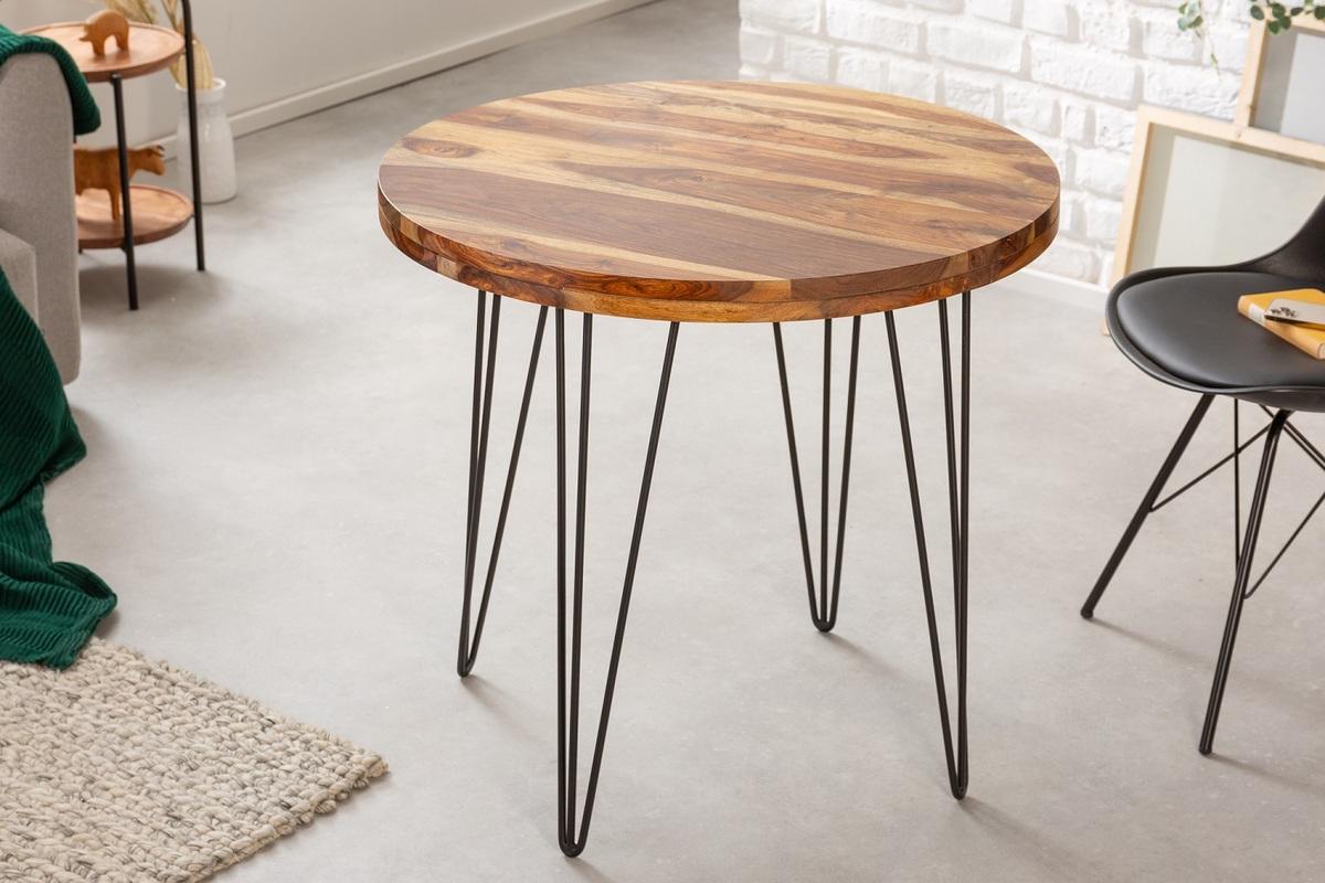 LuxD Dizajnový okrúhly jedálenský stôl Elegant 80 cm Sheesham