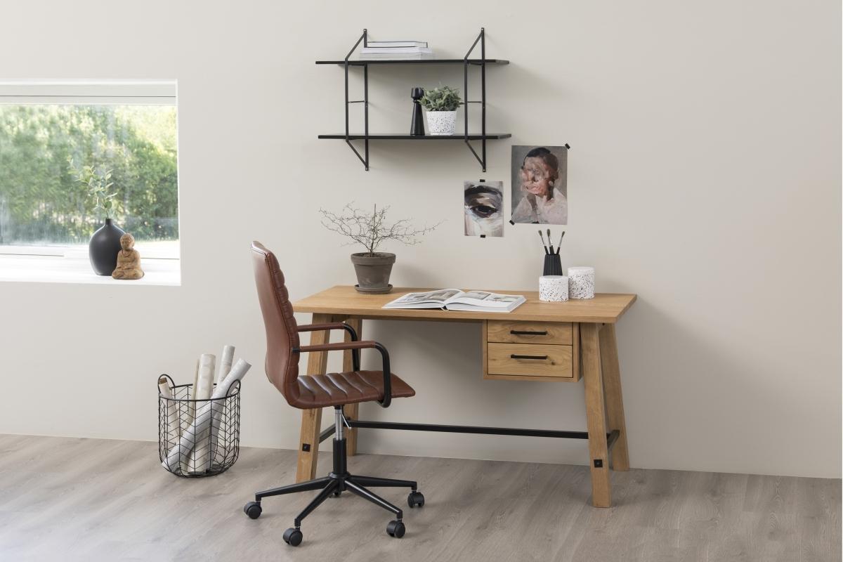 Dkton Dizajnový písací stôl Nayana 130 cm, brúsený divoký dub